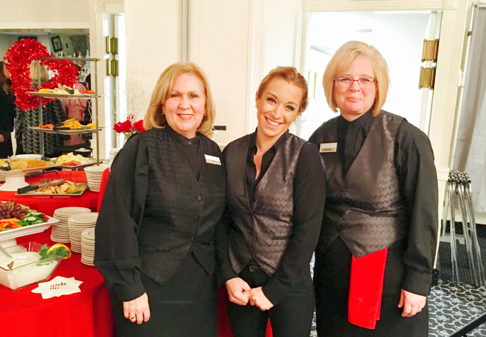 LADIES OF LENZI S: From left, Gail Friado of Billerica, Crystal Graham of Lawrence and Denise Belleville of Lowell all waitresses at Lenzi s Millhouse in Dracut take a quick break for a snapshot while working the recent Girls Inc. Jazz in January event. SUN/DACEY ZOUZAS