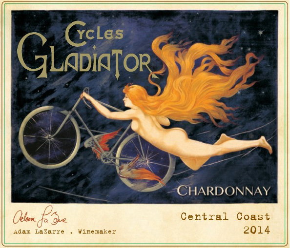 """The label for Cycles Gladiator Chardonnay is from a bicycle ad poster created in Paris in 1895 to attract women buyers. In 2009, the Alabama Beverage Control Board banned the label — and the wine — from sale because of its """"immodest"""" characterization."""